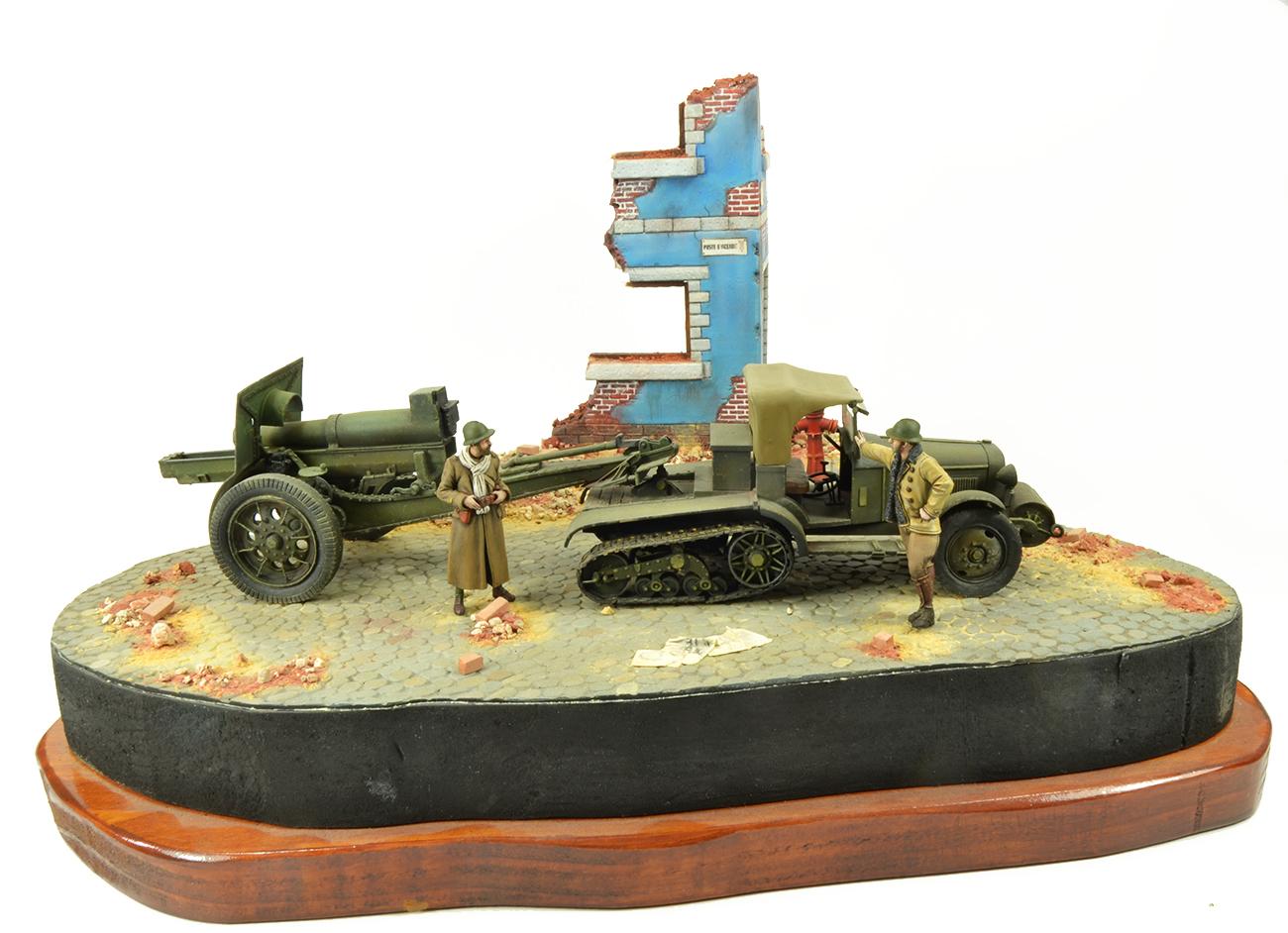 Diorama 1940 Cotroën Kégresse P14 et 155mm C/17